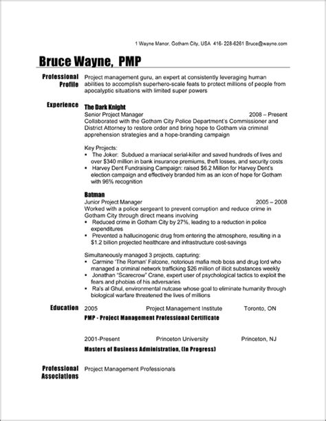 Mba Project Manager Resume by Curriculum Vitae Curriculum Vitae Canadian Format