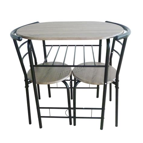 Breakfast Bar Dining Table Foxhunter Compact Dining Table Breakfast Bar 2 Chair Set Metal Mdf Kitchen Ds06 Ebay