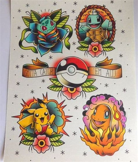 pokemon old style tattoo design