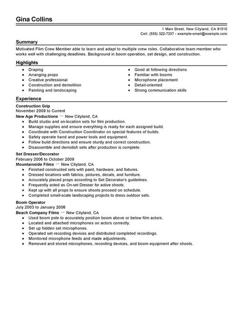 Interior Design Resume Objective Examples by Film Crew Resume Example Media Amp Entertainment Sample