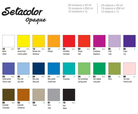 opaque color seta colour opaque colour chart the paint spot