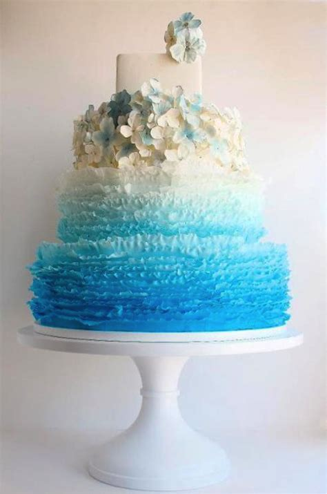 teal ombre wedding cake ideas bouquet
