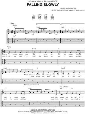 tutorial piano falling slowly glen hansard quot falling slowly quot guitar tab download print