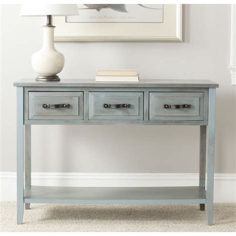 white distressed sofa table safavieh aiden console distressed pale blue white table