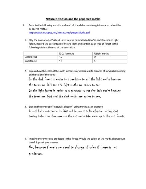 Peppered Moth Simulation Worksheet Answers by Selection And The Peppered Moths