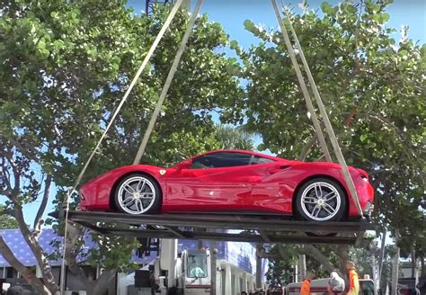 ferrari lifted ferrari s entire lineup being lifted by crane off a