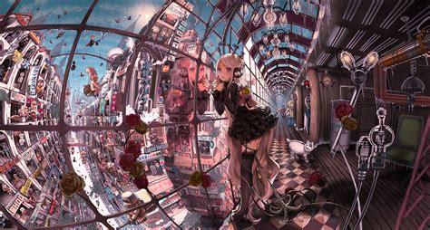 anime artwork 2次元 幻想近未来建物 美しい風景イラスト集 画像 naver まとめ
