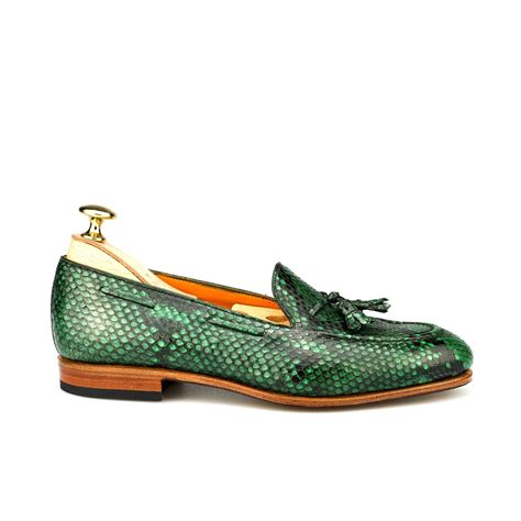green loafers s loafers in green piton