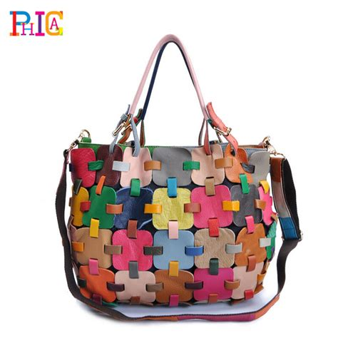 Handmade Patchwork Bags - free shipping real leather fashion luxury