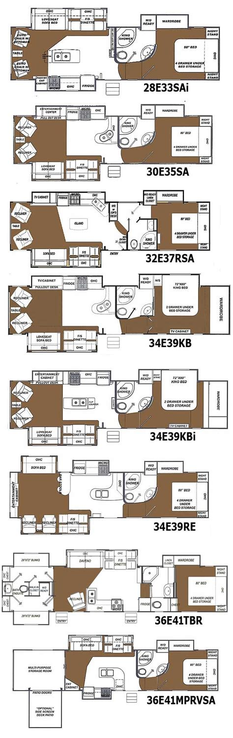 5th Wheel Floor Plans by Glendale Titanium Fifth Wheel Floorplans Large Picture