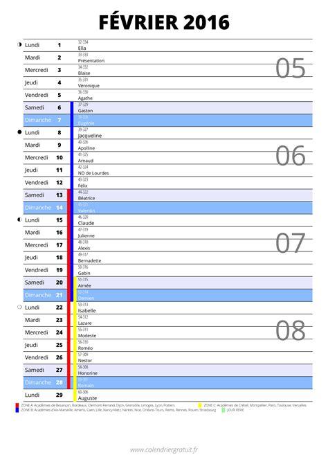 Calendrier G 2016 Calendrier De F 233 Vrier 2016 224 Imprimer