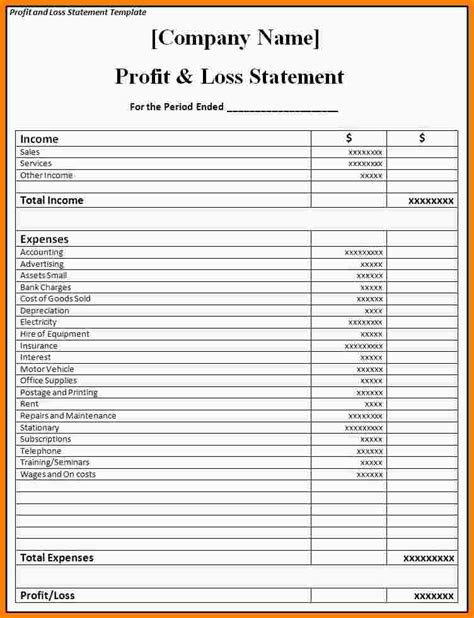 company profit and loss statement template doc 752982 6 profit loss statement template bizdoska