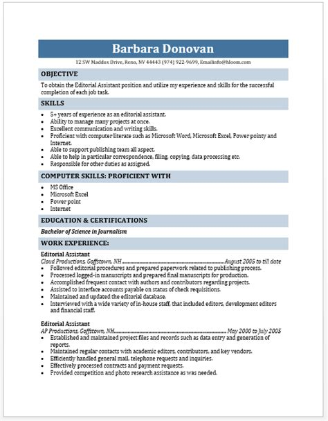 Editorial Assistant Sle Resume by Editorial Assistant Resume Blue Layouts