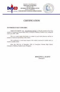 certificate of moral character template certificate of moral character from employer sle