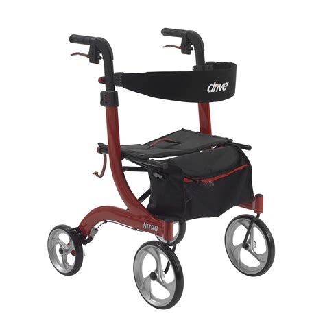 drive nitro rollator drive medical nitro euro style walker rollator red rtl10266