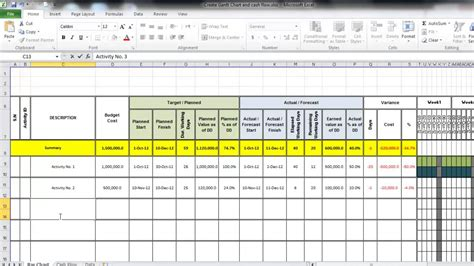 create gantt chart and cash flow using excel youtube
