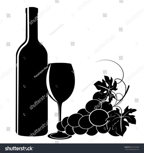 wine silhouette black silhouettes grapes wine glass bottle stock vector