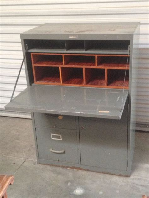 secretary desk with file storage retro quot tower quot metal industrial secretary desk w filing