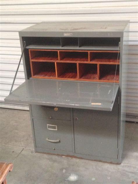 "Retro ""Tower"" Metal Industrial Secretary Desk w/Filing"