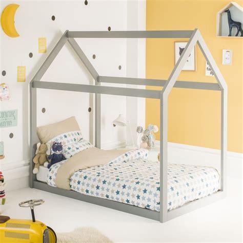 lit extensible pas cher lit montessori cabane coloris gris 90x140 extensible