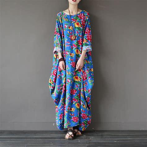 Blue Flower Retro Cheongsam Dress Vintage Import Fashion Wanita Korea blue flower print plus size dress style