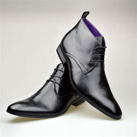 mens black leather smart formal casual lace up boots shoes