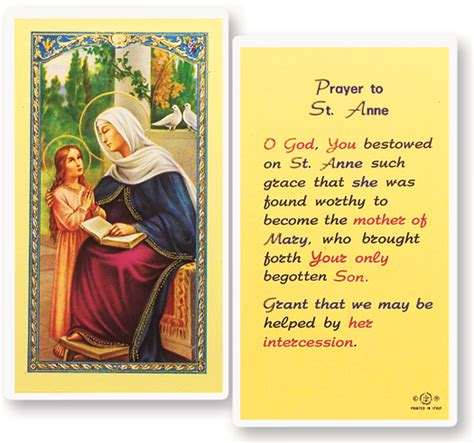 where to put st st anne laminated holy card