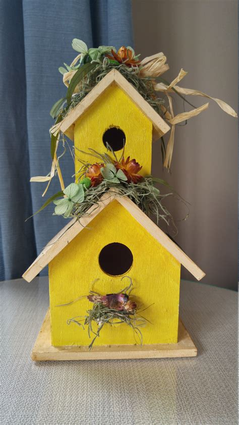 yellow dried flower birdhouse rustic home decor garden