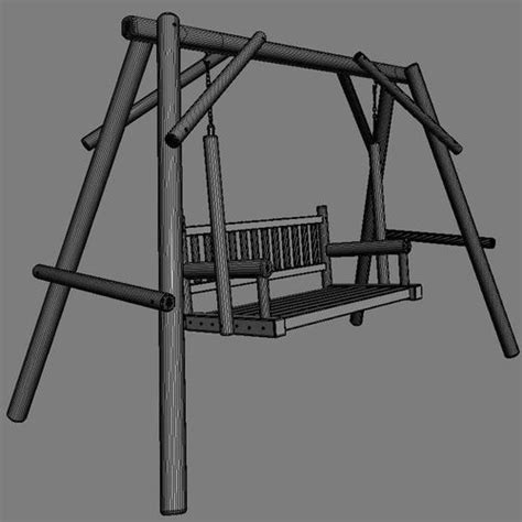 wooden swing seats multiple seats wooden swing 13 3d model max obj cgtrader com