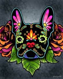 Trippy Home Decor quot day of the dead french bulldog in black sugar skull dog