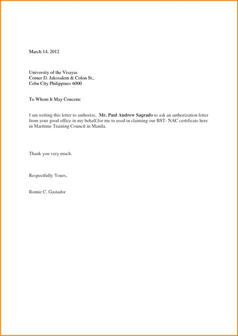 Authorization Letter Receiving Authorization Letter Sle To Act On Behalf Authorization Letter Pdf