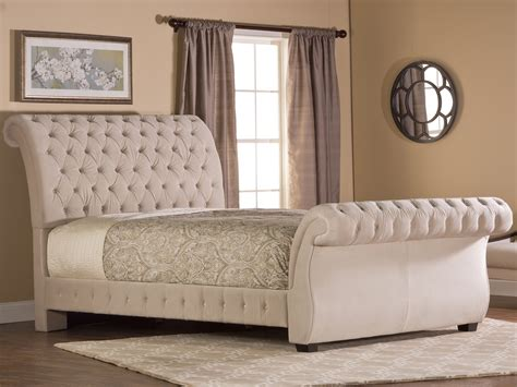 tufted bedroom bombay fabric upholstered bed in buckwheat by hillsdale