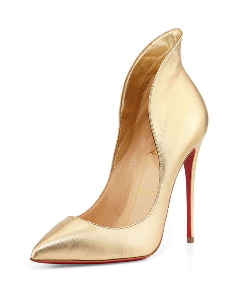 light gold high heels christian louboutin mea culpa metallic sole