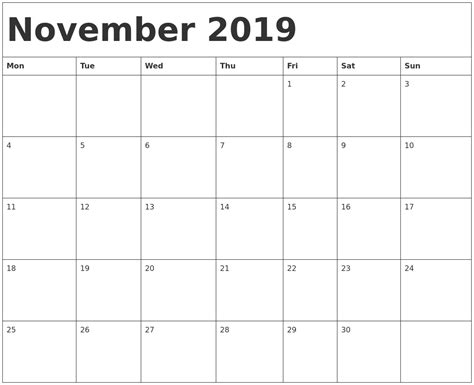 printable calendar monday start november 2019 calendar template