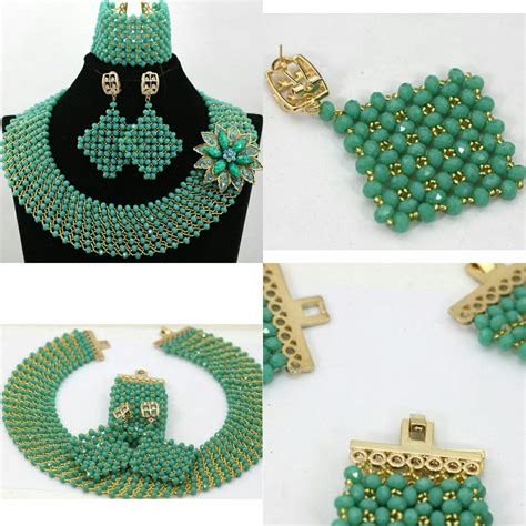 bead sets jewellery style handmade teal green