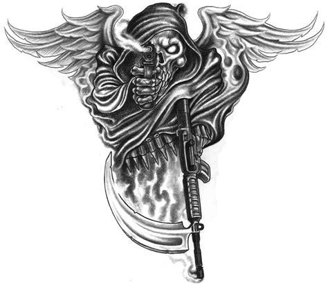 skull gun tattoo designs with wings and gun design hm