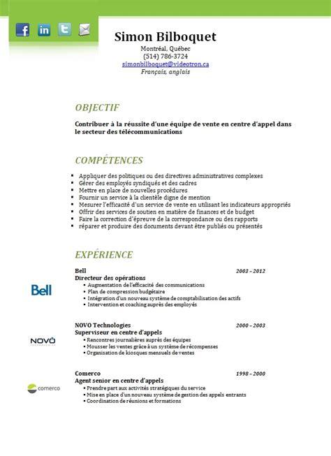 Cv Rédigé Exemple by Resume Format Modele Cv Quebequois