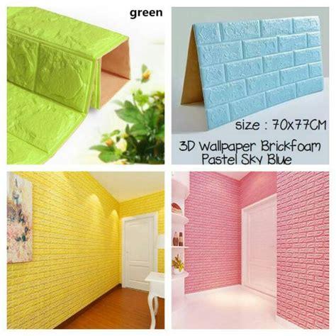 wallpaper dinding foam batu bata ukuran cm  cm