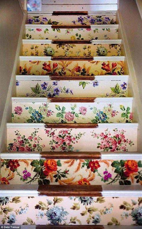 Decoupage Stairs - 20 diy wallpapered stair risers ideas to give stairs some