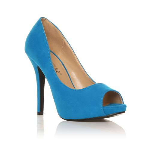 turquoise high heels shoes turquoise faux suede stiletto high heel platform peep