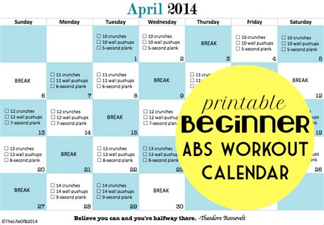 one day at a time monthly beginner s workout series april abs printable beginner workout calendar