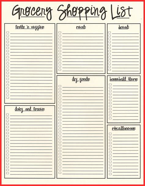 simple shopping list template 11 inspirational simple grocery list template