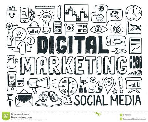how to create digital doodle digital marketing doodle elements set stock images image