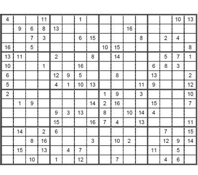 printable intermediate killer sudoku intermediate sudoku 16 x 16 puzzle 3 intermediate sudoku