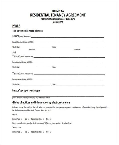 tenancy contract template residential tenancy agreement