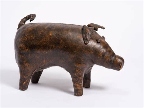 pig ottoman vintage leather pig ottoman by abercrombie and fitch for