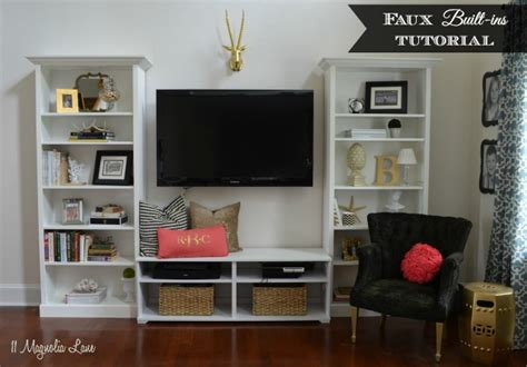 quot faux quot built in living room shelves tutorial with ikea