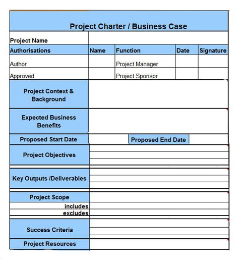 project management project charter template project charter 7 free pdf doc sle