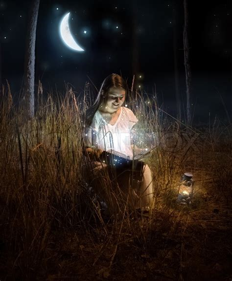 Magical Photo Of Beautiful Woman Sitting At Night Forest