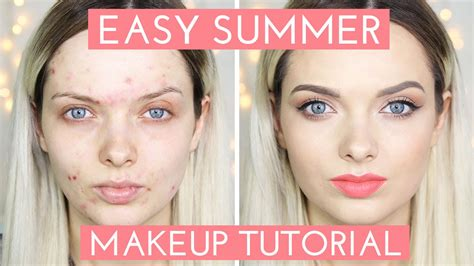 natural makeup tutorial acne acne coverage easy summer makeup tutorial mypaleskin